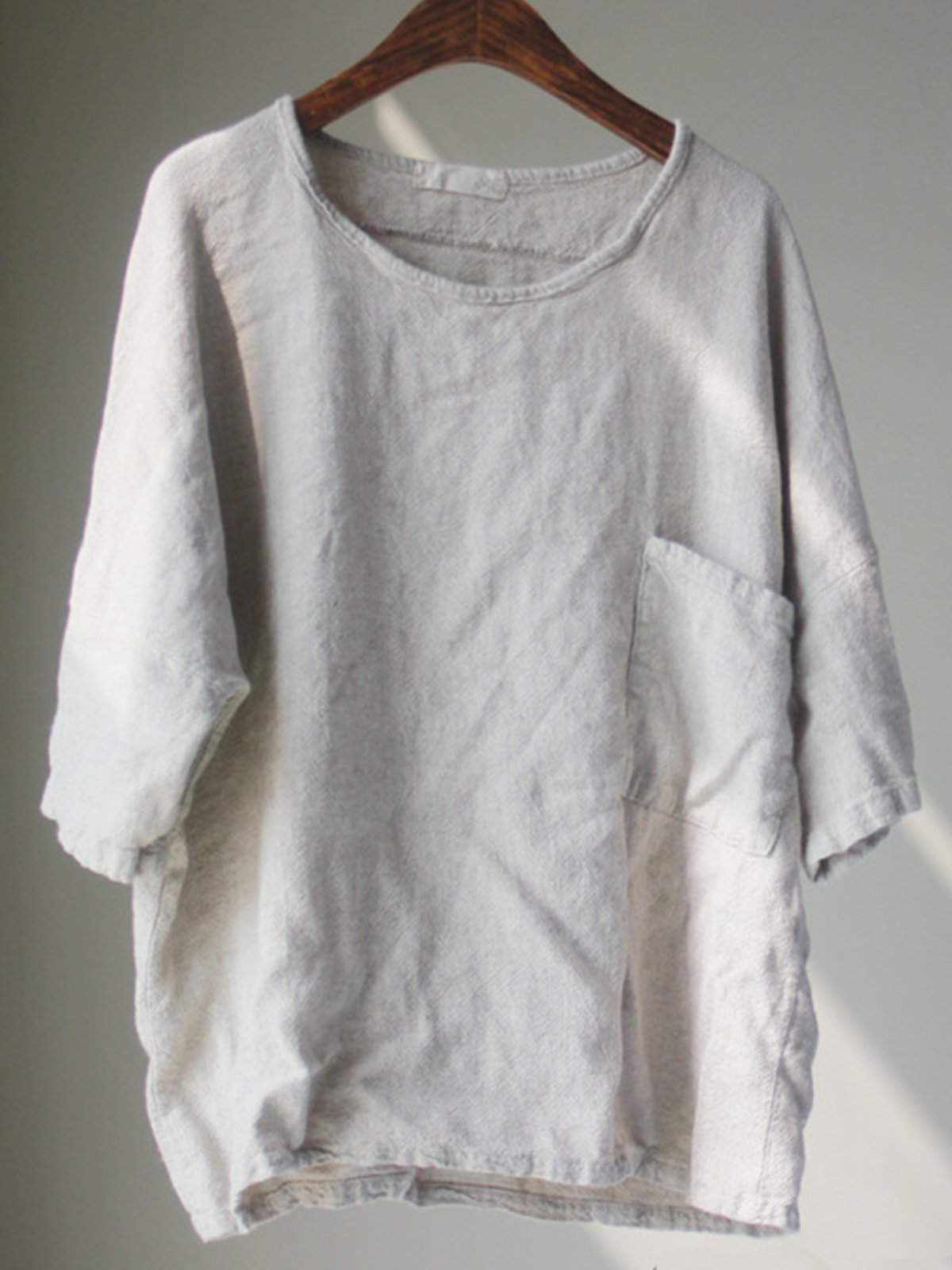 Beige Solid Cotton-Blend Long Sleeve Shirts & Tops