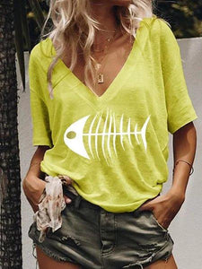 Fish Printed Casual V Neck Shirts