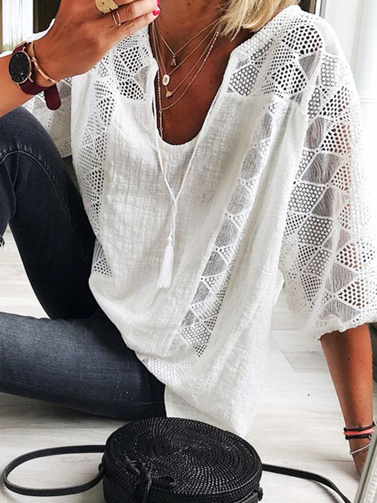 White Casual Half Sleeve Shirts & Tops