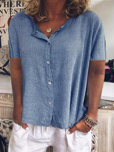 Buttoned Short Sleeve Casual Shirts & Tops