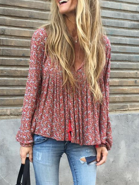 Casual Printed/dyed V Neck Long Sleeve Shirts & Tops