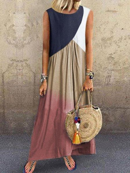 Plus Size Women Sleeveless Round Neck Vintage Color-block Casual Dresses