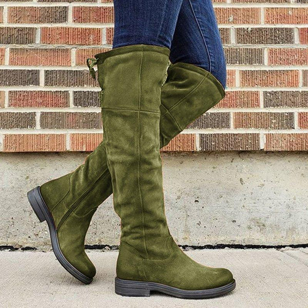 Women's round head zipper boots