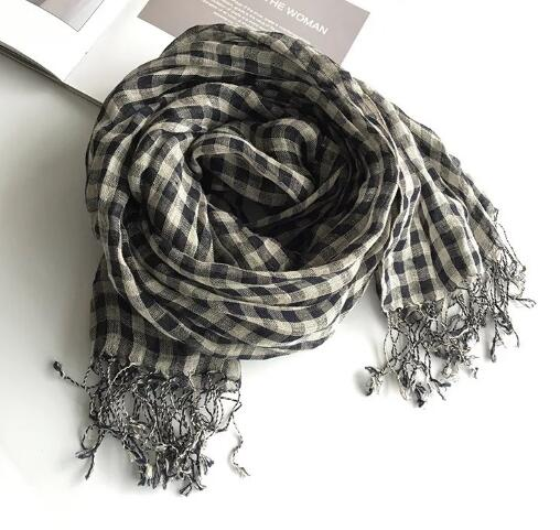 100% Linen Black Plaid Tassel Woman Scarf Hijab Foulard Shawls Scarves Women For Spring and Autumn