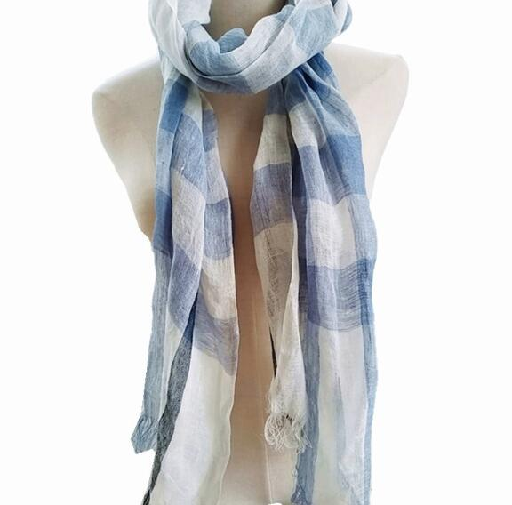 100% Linen Plaid Contrast Tassels Linen Men/Women Scarves Man/Woman Summer Scarf Pashmina Shawls Wraps Head Scarf bandanas