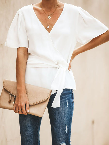 Bow Short Sleeve Sweet Blouses Solid Shirts