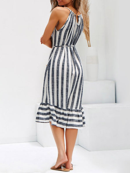 Women Plus Size Stripe Spaghetti-strap  Flounce Holiday  Dress