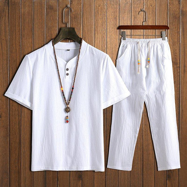 Men's Chinese Style Sets Two Buckle Short-sleeved T-shirt + Trousers Casual Two-piece