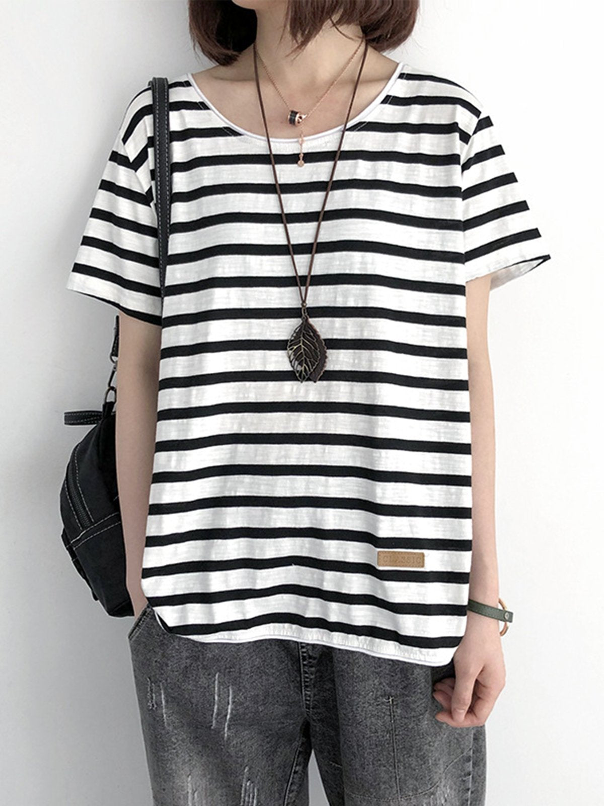 Casual Short Sleeve Striped Cotton Shirts & Tops