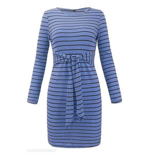Round Neck  Belt Loops  Striped  Long Sleeve Bodycon Dresses