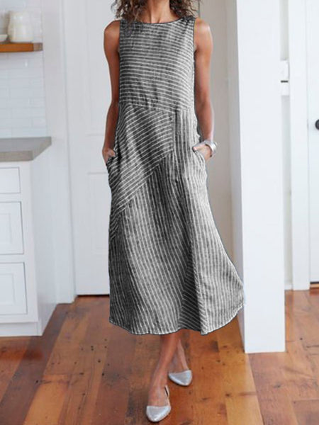 Women Casual Dress Cotton Striped Crew Neck Shift Daily Dresses