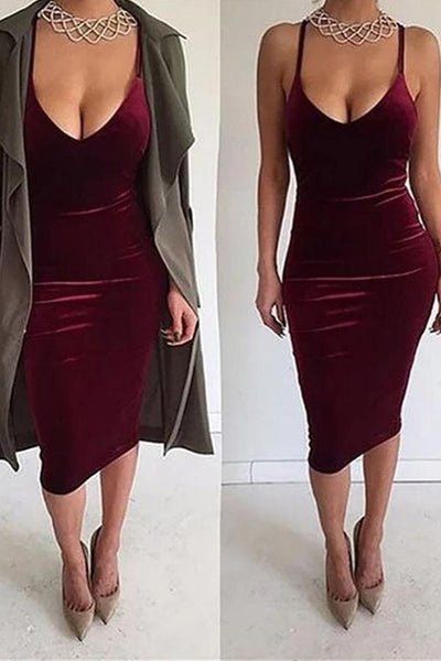 Sexy Deep V Sling Bare Back Velvet Bodycon Dresses