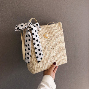Women Hand Bag Shoulder Sling Beach Bags Crossbody Woven Polka Dot Tibbon Pearl Handbag