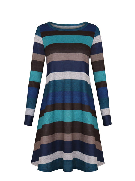 Casual Crew Neck Striped Cotton-blend Dress