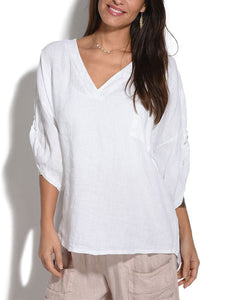 Plus Size Casual 3/4 Sleeve V Neck Solid Tops