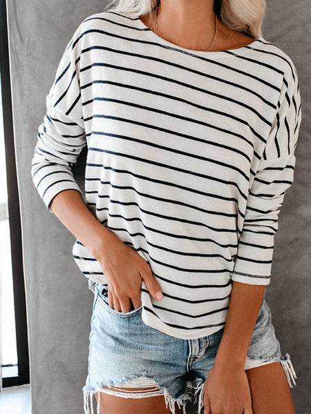White Stripes Casual Crew Neck Shirts & Tops