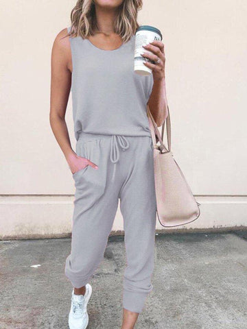 Plain Crew Neck Casual One-Pieces