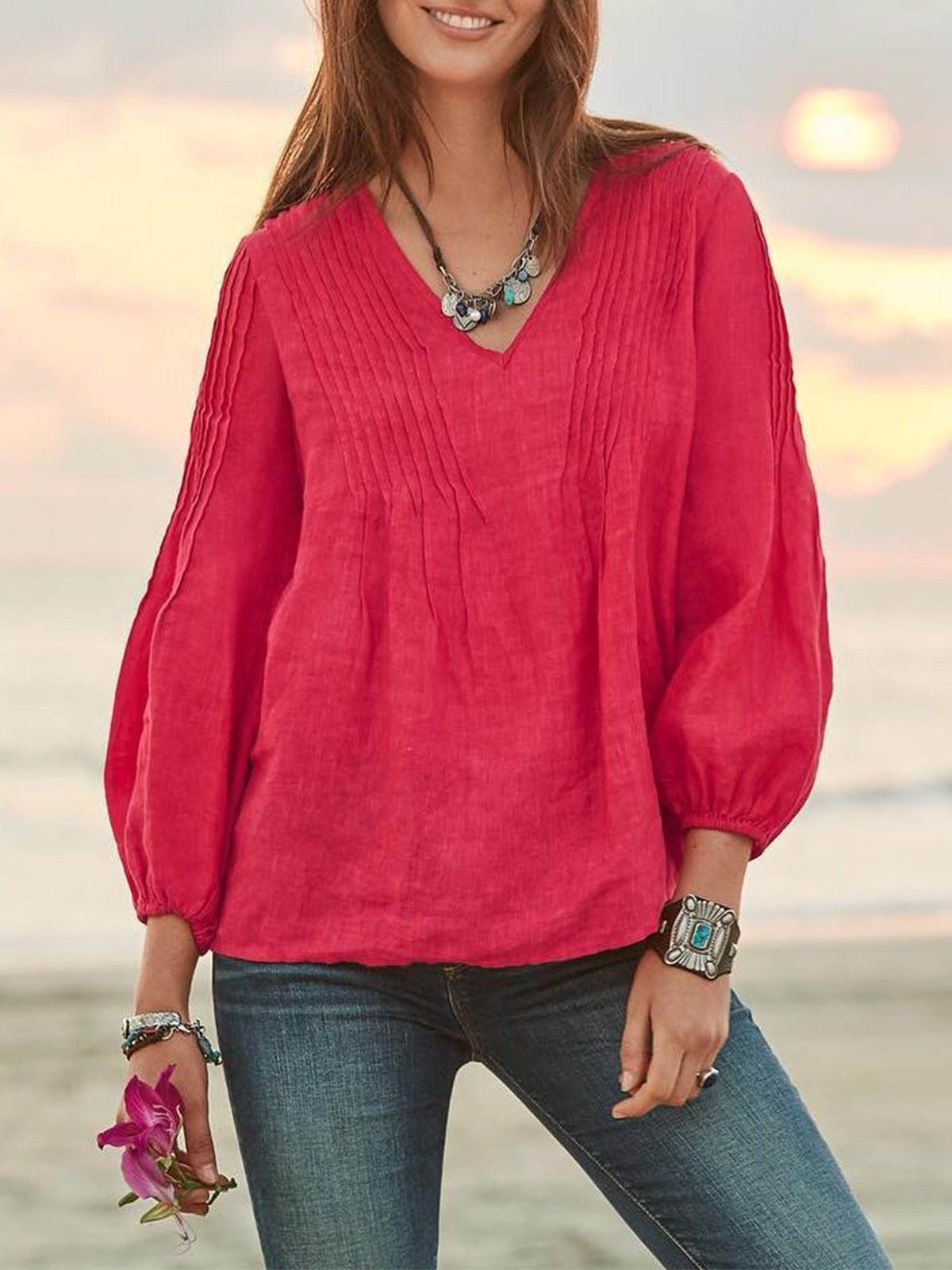 solid summer cotton women TOP