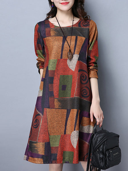 Orange Casual Abstract A-line Plus Size Print Dress