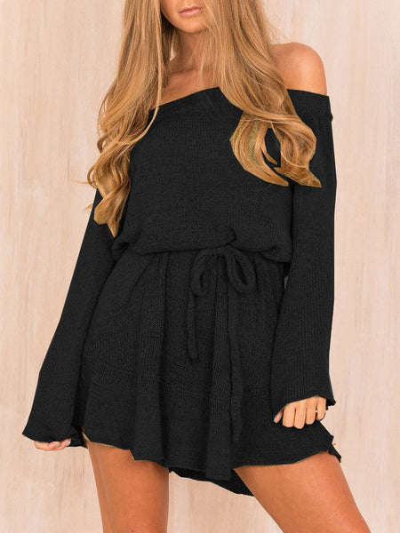 Casual Solid Off Shoulder Fall Dress