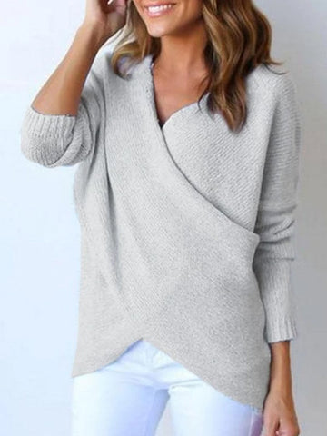 Koseme Surplice Curved Hem Long Sleeve Sweater