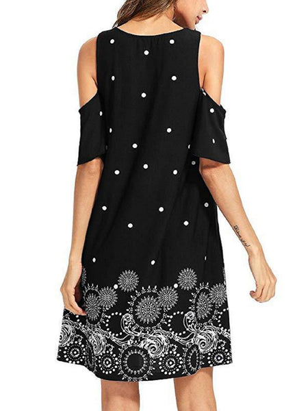 Short Sleeve Floral Cotton Crew Neck Casual Dresses