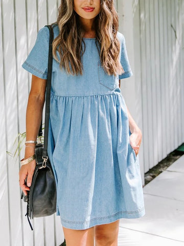 Blue Casual Plain Dresses
