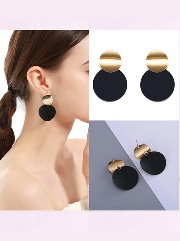 Fashion Geometric Round Stud Double Circle Earrings