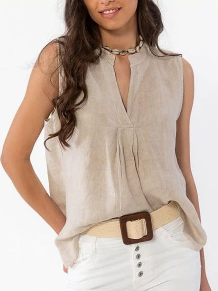 Casual Sleeveless Solid V Neck Shirts & Tops