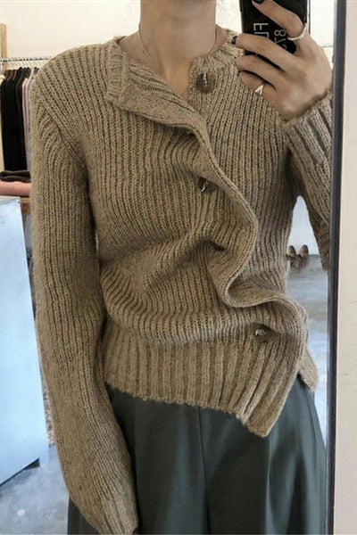 Fashion Irregular Knit Sweater Coat