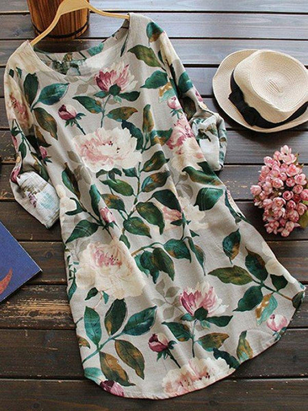 Shift Floral Long Sleeve Casual Dresses