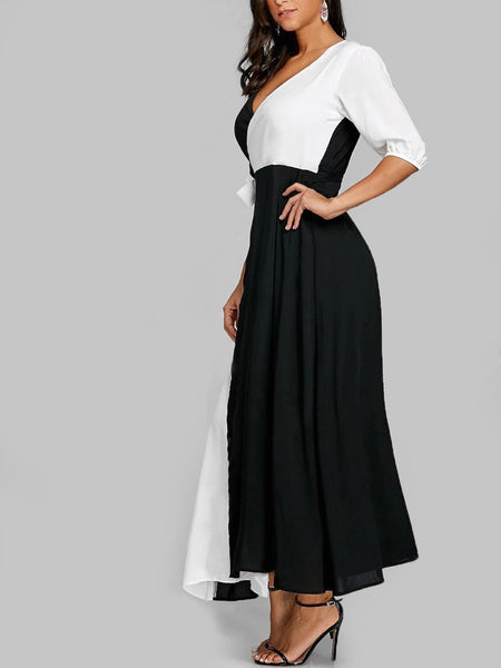 Surplice  Color Block Maxi Dress
