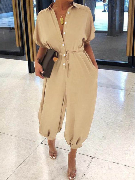 Short Sleeve V Neck Casual Jumpsuits