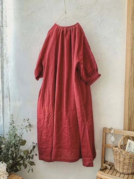 Red Solid Crew Neck Casual 3/4 Sleeve Dresses
