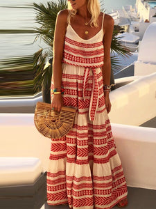 Sleeveless Stripe Maxi Holiday Dresses