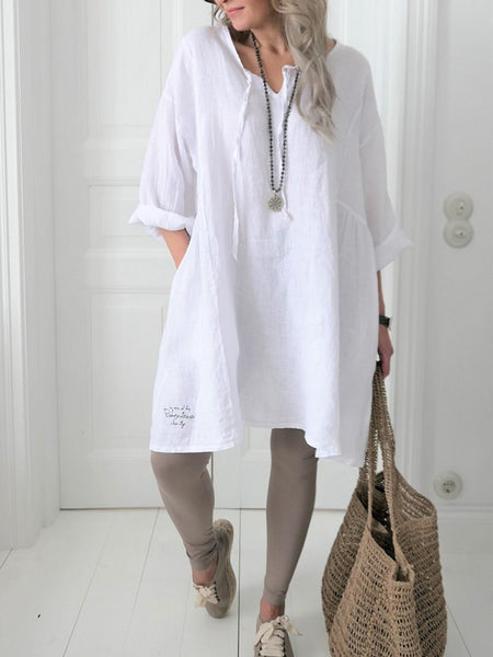 Round Neck Casual Linen Solid Shirts