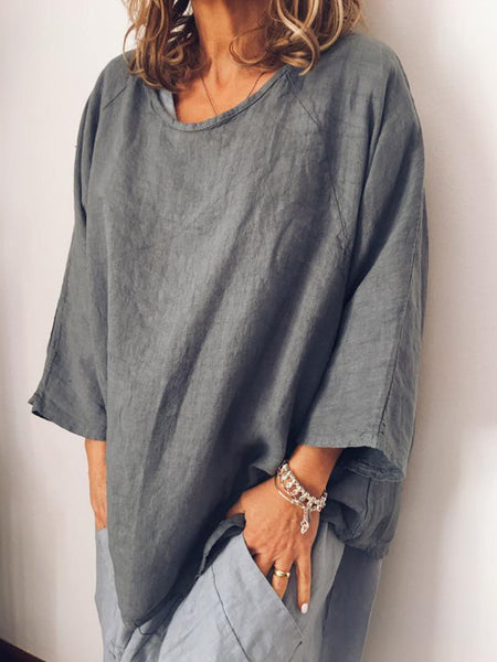 Plus Size Crew Neck Vintage Long Sleeve Solid Blouse
