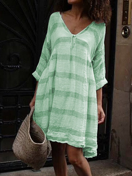 Half Sleeve V Neck Striped Casual Dresses