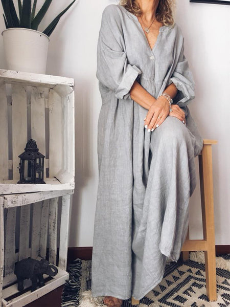 Casual Long Sleeve Cotton Maxi Dresses