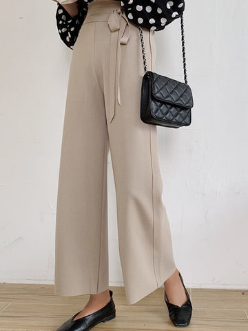 Women High Waist Strap Wide Leg Pants Ins  Straight  Casual  Pants