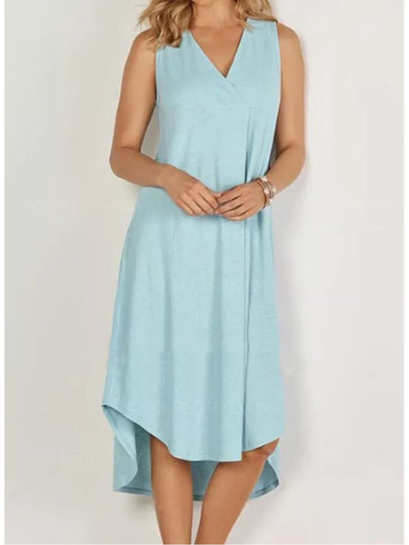 Blue Sweet Sleeveless Solid Dresses