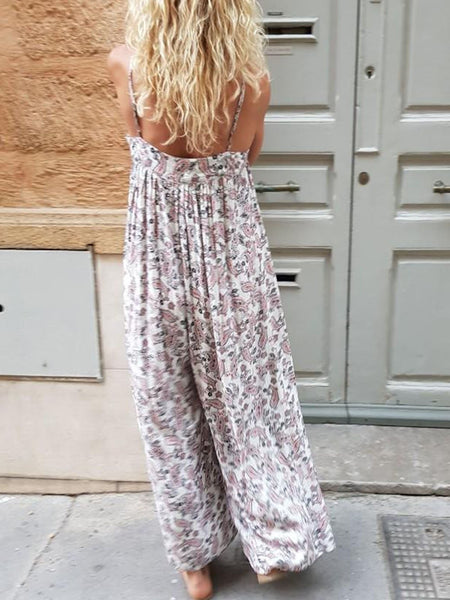 White Floral Casual Pants