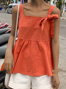 Plus Size Women Solid Square Collar Cotton Bow Tie Sleeveless Loose Casual Vest Top