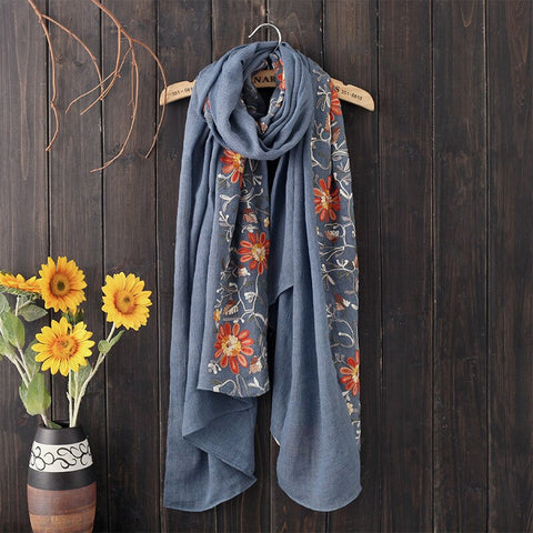180x90cm Embroidery Female Cotton Linen Retro Nation Shawl Plaid Scarves