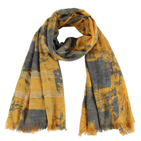 Fashion Tie Dyeing Yellow Soft Long Shawls Patchwork Scarves