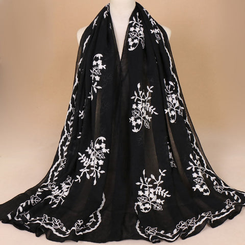 Embroider Floral Viscose Scarf Brand Printe Shawls and Wraps