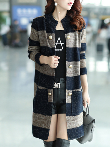 Long Sleeve Casual Knitted Cotton-Blend Coat