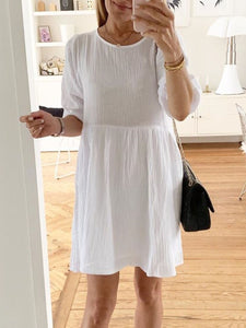 White Crew Neck Solid Half Sleeve Cotton Dresses