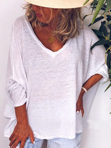 V Neck Solid 3/4 Sleeve Shirts & Tops