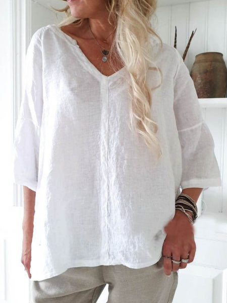 Cotton Casual Solid Shirts & Tops